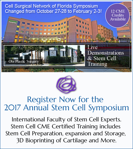 Registeration Information for the 2017 Stem Cell Symposium in Jacksonville Florida
